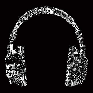 LOS ANGELES POP ART Los Angeles Pop Art Women's Raglan Word Art T-shirt - HEADPHONES - LANGUAGES