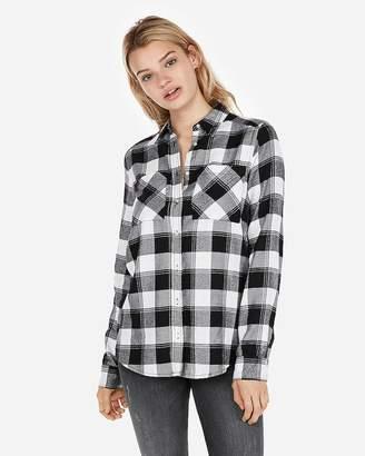 Express Black Plaid Flannel Two-Pocket Boyfriend Shirt