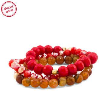 Pave Fireball Set Of 3 Glass Beaded Bracelets