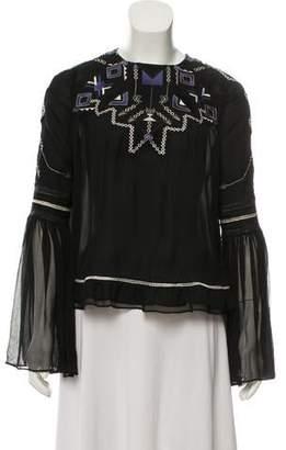 Jonathan Simkhai Silk Embroidered Blouse