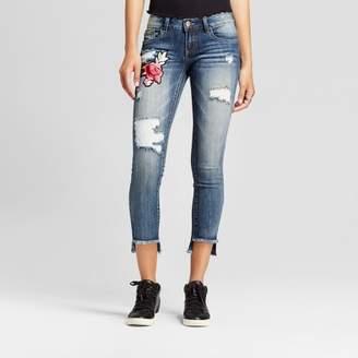 Dollhouse Women's Rose Applique Destructed Step Hem Skinny Jeans - Dollhouse® (Juniors') $32.99 thestylecure.com