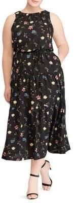 Plus Floral Sleeveless Midi Dress