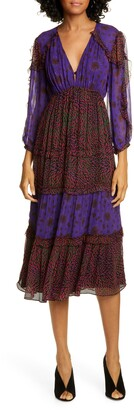 BA&SH Gypsie Pattern Mix Midi Dress
