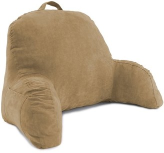 Deluxe Comfort Microsuede Bed Rest Reading and Bedrest Lounger Sitting Supprt Pillow Soft But Firmly Stuffed Fiberfill Backrest Pillow with Arms, Taupe