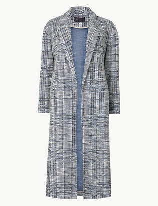 Marks and Spencer PETITE Checked Open Front Coat