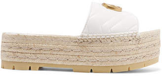302aee861b0 Gucci Quilted Leather Espadrille Platform Slides - White
