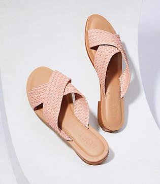 LOFT Woven Criss Cross Slide Sandals