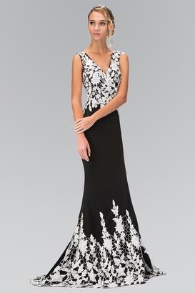 Elizabeth K - V-neckline with White Lace Embellished Gown GL1408 $425 thestylecure.com