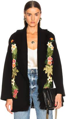 Alanui Hawaiian Nature Embroidered Cardigan in Black   FWRD