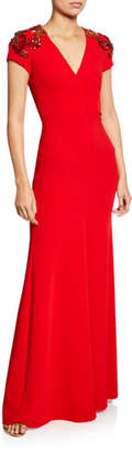 Jenny Packham Lugano Cap-Sleeve Beaded V-Neck Gown