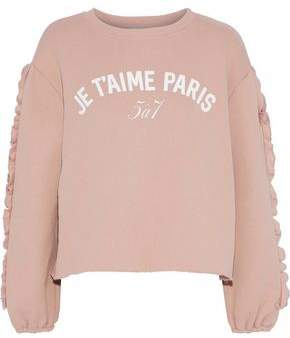 Cinq à Sept Ruffle-Trimmed Printed Cotton-Fleece Sweatshirt