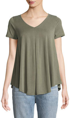 Couture Casual V-Neck Draped Tee