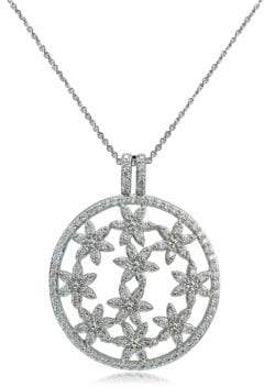 Lord & Taylor Cubic Zirconia and Sterling Silver Filigree Pendant Necklace