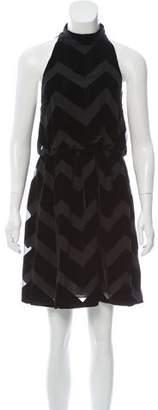 Alice + Olivia Silk-Blend Velvet Knee-Length Dress