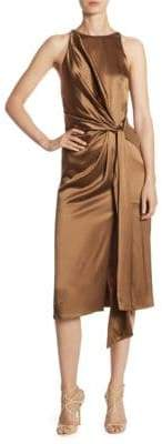 Halston Draped Gathered Dress