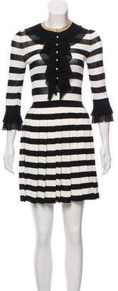 Gucci 2016 Ruffle-Accented Striped Dress w/ Tags