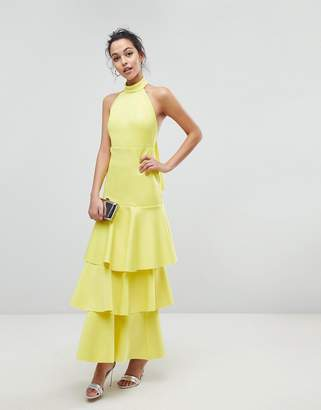 Asos Design Halter Neck Tiered Bow Back Maxi Dress