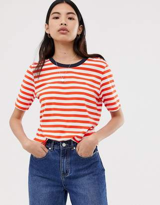 Selected stripe t-shirt with contrast neck