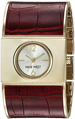 Nine West Women's NW/1926SVBY Gold-Tone and Burgundy Croco-Grain Bangle Watch