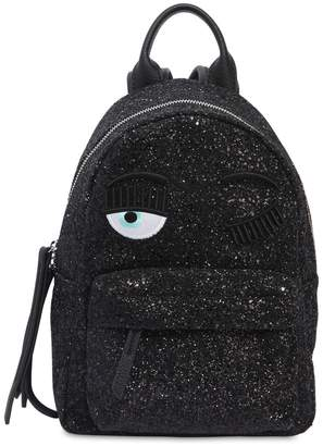 Chiara Ferragni Eye Embroidery Glitter Mini Backpack