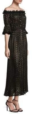 The Kooples Off-the-Shoulder Golden Polka Dot Dress