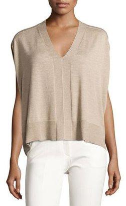 Derek Lam Colorblock Sleeveless Cocoon Sweater, Oatmeal Melange $795 thestylecure.com