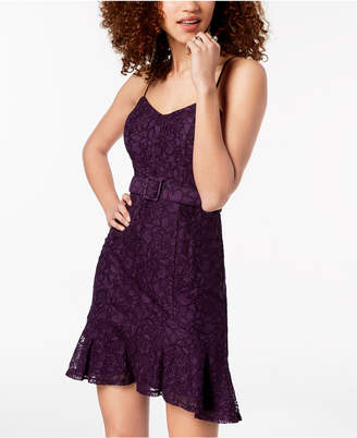 City Studios Juniors' Adjustable Belted Lace Dress