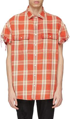 R 13 Frayed cuff check plaid oversized short sleeve shirt