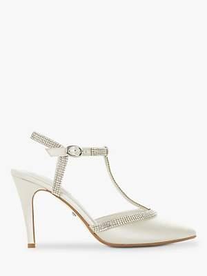 Dune Delightes Embellished T Bar Stiletto Heel Court Shoes, Ivory Satin