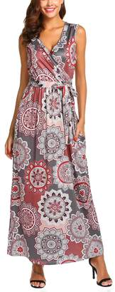 SimpleFun Women's Sleeveless Maxi Dress with Pockets Boho Print Loose Swing Casual Floor Length Long Dresses (,L)