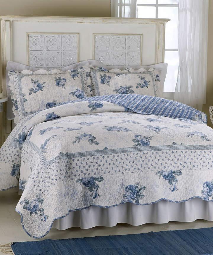 Blue Rose Blossom Cotton-Rich Quilt