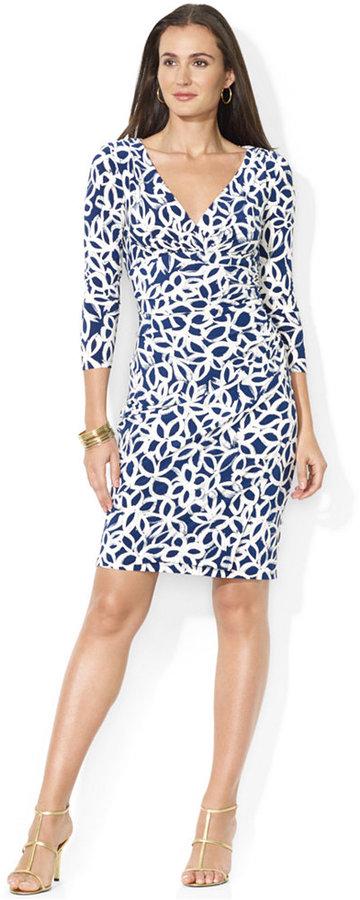 Lauren Ralph Lauren Three-Quarter-Sleeve Floral-Print Faux-Wrap Dress
