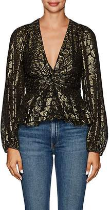 A.L.C. Women's Logan Leopard-Pattern Silk-Blend Blouse