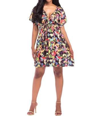 Honghu Boho Vintage Floral Print Mini Dress Women Short Sleeve Summer Beach Dresses 4XL