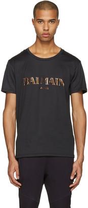 Balmain Black Mylar Logo T-Shirt $290 thestylecure.com