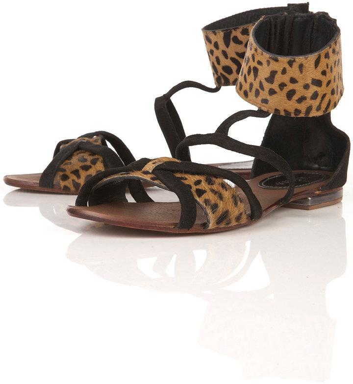 Topshop FALCON Leopard Print Suede Cuff Sandals