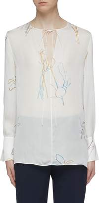 Theory Tie keyhole front graphic print silk tunic top