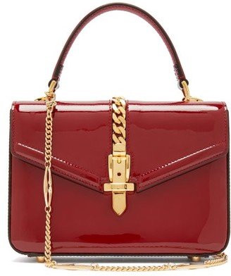 Gucci Sylvie Small Patent Leather Shoulder Bag - Womens - Burgundy