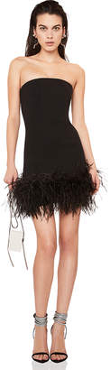 Saint Laurent Feather Hem Strapless Crepe Dress