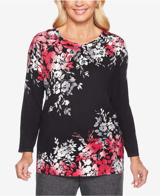 Alfred Dunner Finishing Touches Embellished Floral-Print Sweater