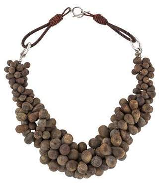 Brunello Cucinelli Bronzite Bead Collar Necklace