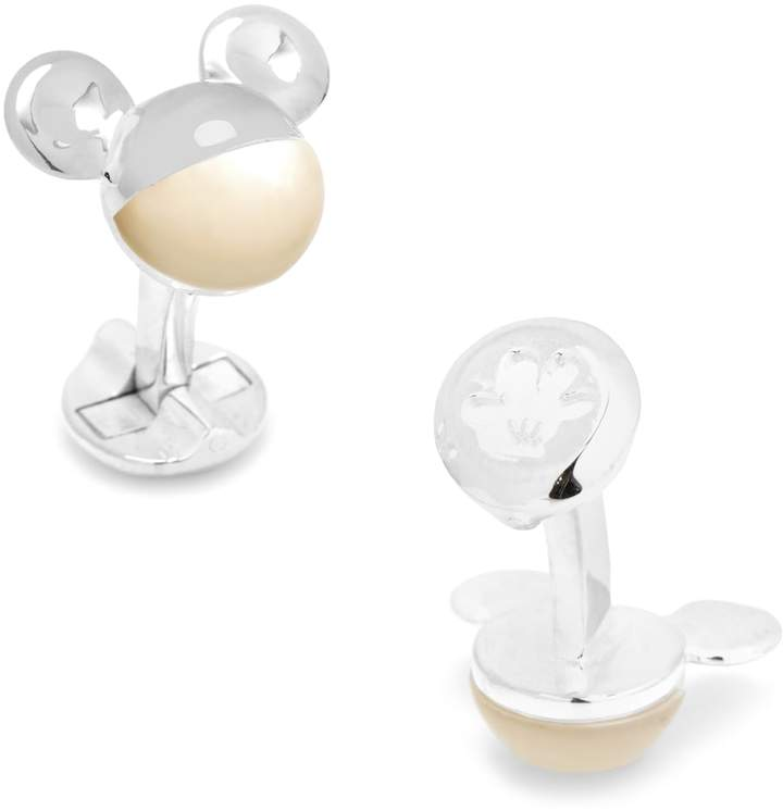 Disney Disney 3D Mickey Mouse Mother-of-Pearl Silver-Tone Cuff Links