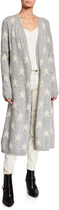 Neiman Marcus Star Printed Cashmere Cardigan