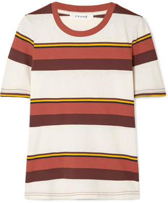Frame True Crew Striped Cotton-jersey T-shirt - Red