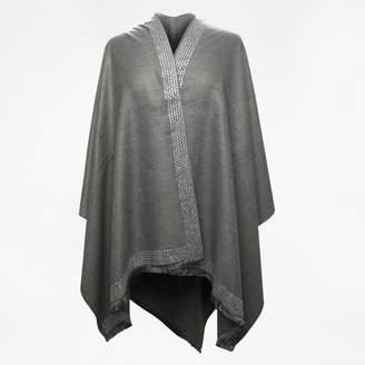 Daniel Grey Silk Mix Jewel Embellished Cape