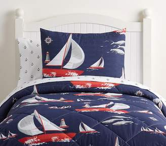 Pottery Barn Kids Sailboat Bed In A Bag, Full, Navy