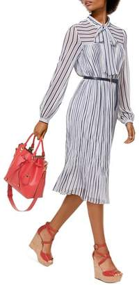 MICHAEL Michael Kors Striped Neck-Sash Midi Dress