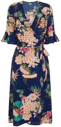 Dorothy Perkins Womens *Girls On Film Blue Midi Wrap Dress