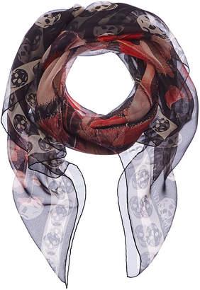 Alexander McQueen Giant Butterfly Skull Print Silk Scarf