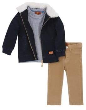 7 For All Mankind Little Boy's 3-Piece Faux Fur Denim Jacket Tee & Pant Set